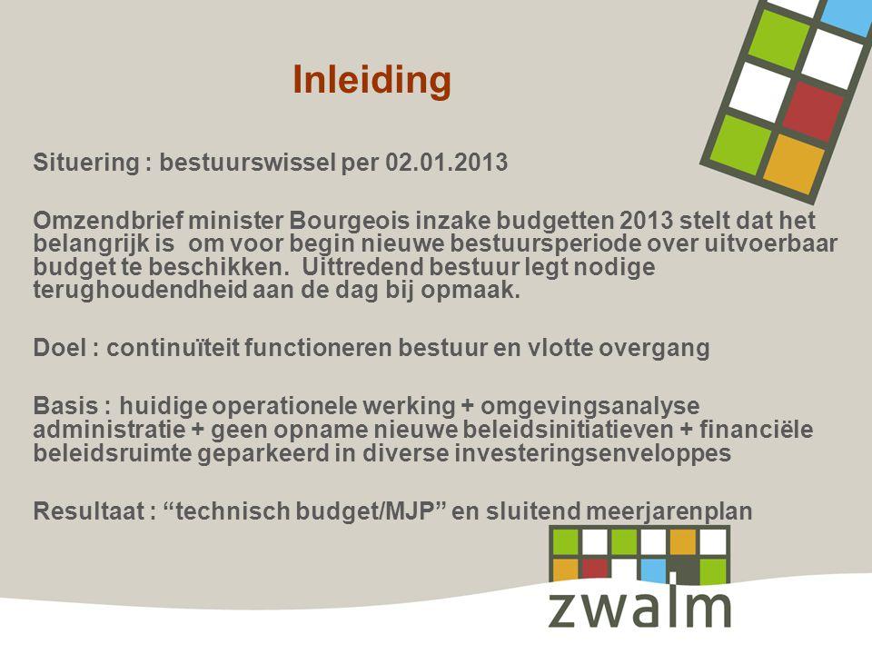 Inleiding Situering : bestuurswissel per 02.01.2013