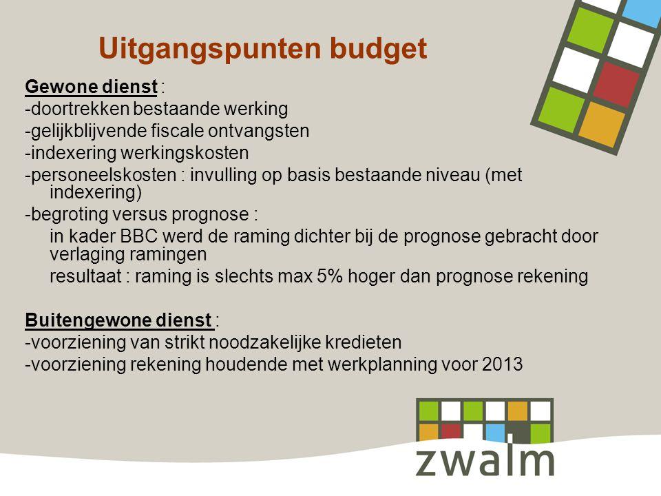 Uitgangspunten budget