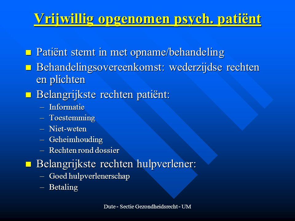 Vrijwillig opgenomen psych. patiënt