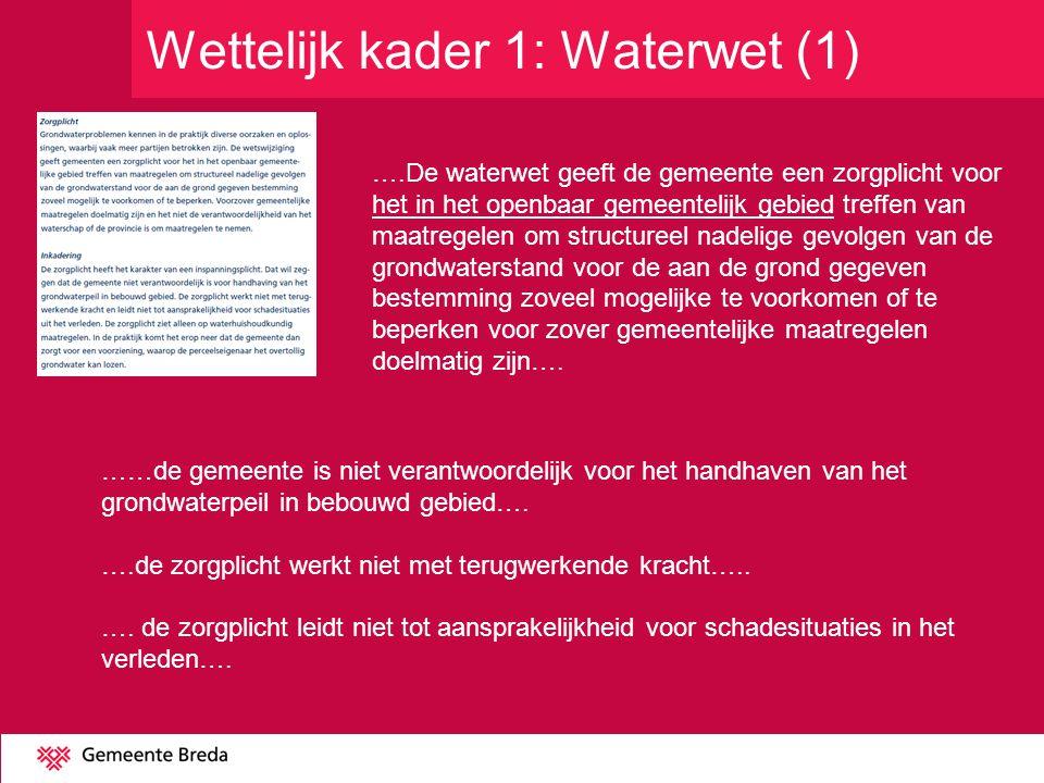 Wettelijk kader 1: Waterwet (1)