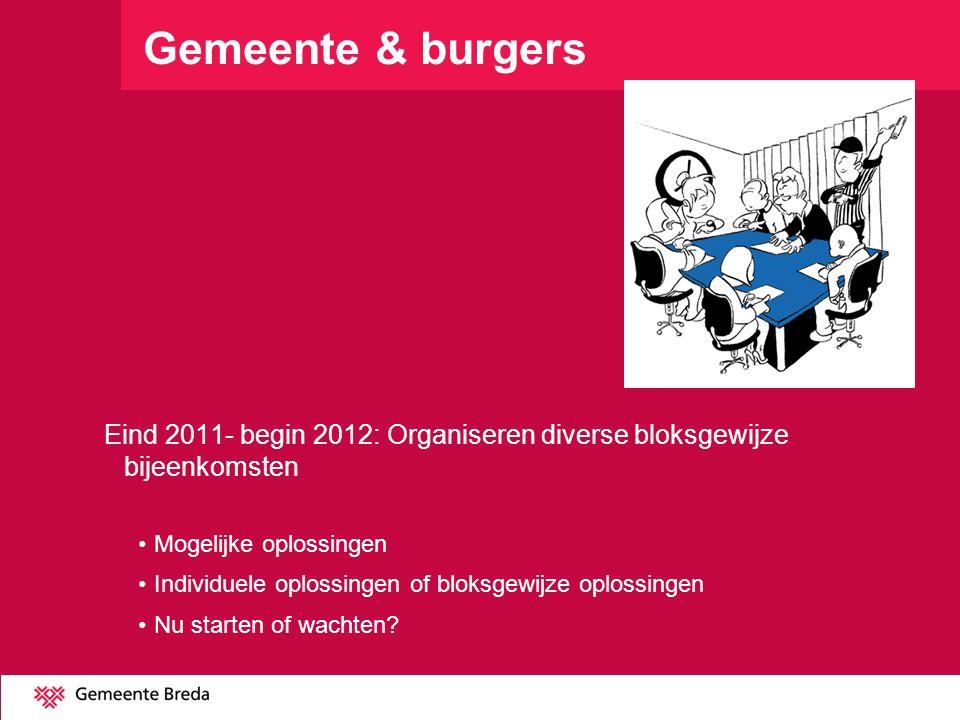 Gemeente & burgers Eind 2011- begin 2012: Organiseren diverse bloksgewijze bijeenkomsten. Mogelijke oplossingen.