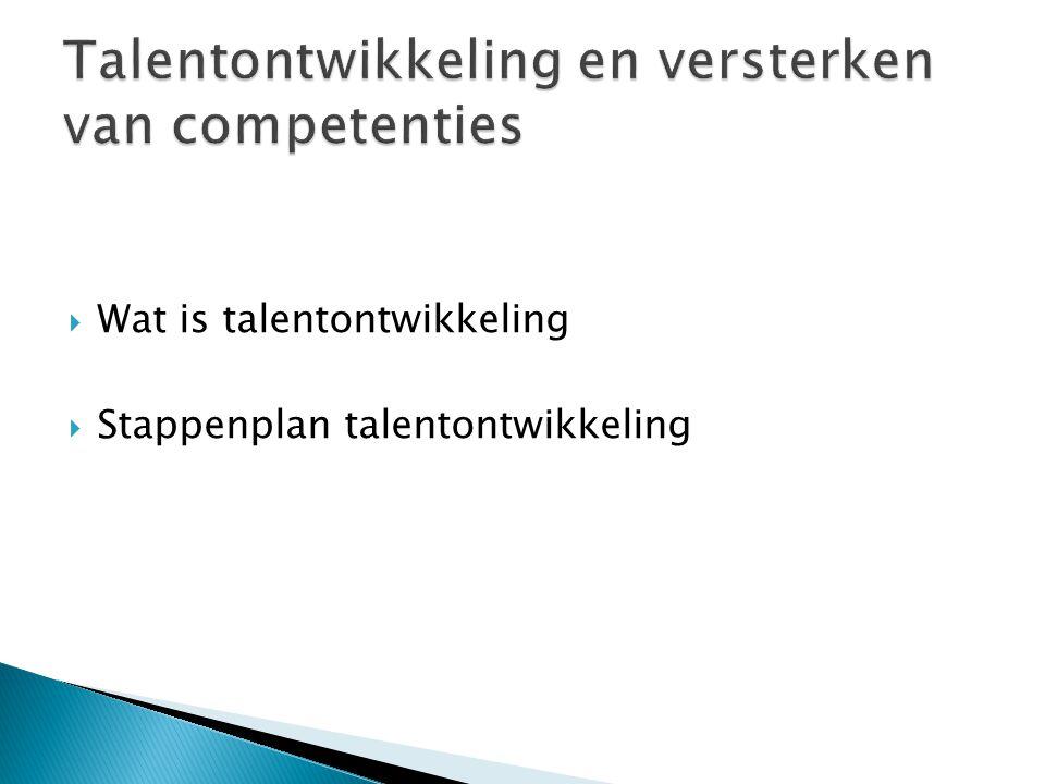 Talentontwikkeling en versterken van competenties