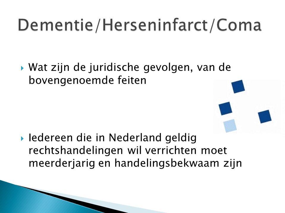Dementie/Herseninfarct/Coma