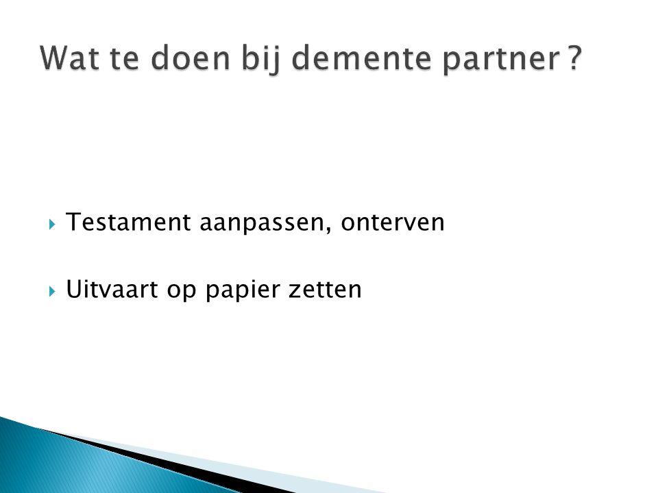 Wat te doen bij demente partner