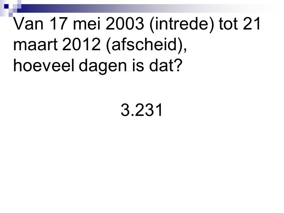 Van 17 mei 2003 (intrede) tot 21 maart 2012 (afscheid), hoeveel dagen is dat