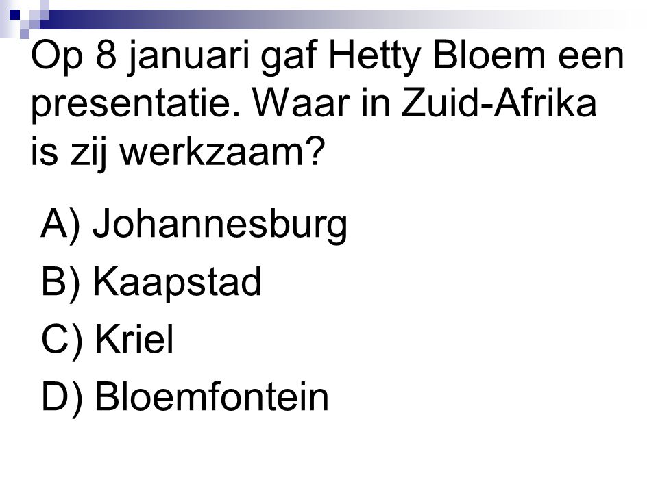 Op 8 januari gaf Hetty Bloem een presentatie