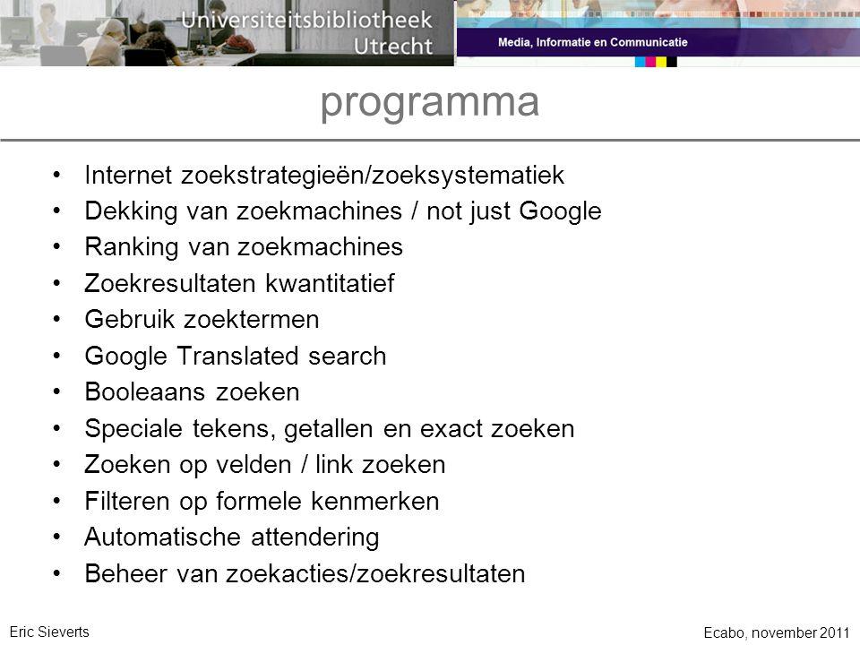 programma Internet zoekstrategieën/zoeksystematiek