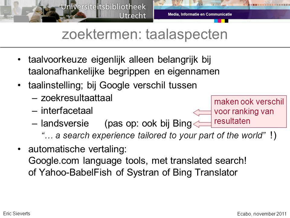 zoektermen: taalaspecten
