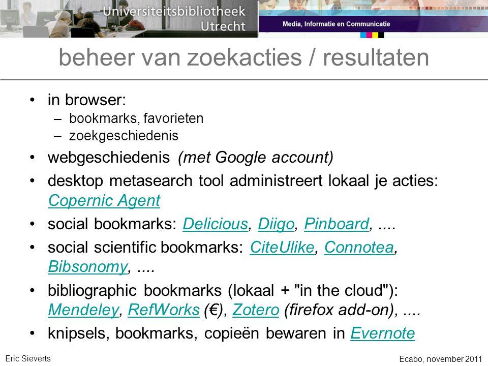 beheer van zoekacties / resultaten