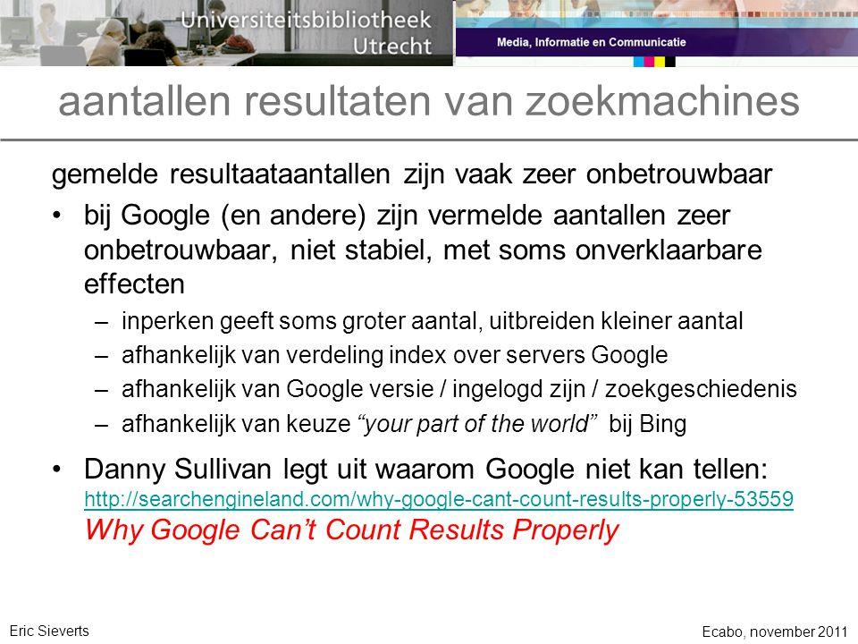 aantallen resultaten van zoekmachines