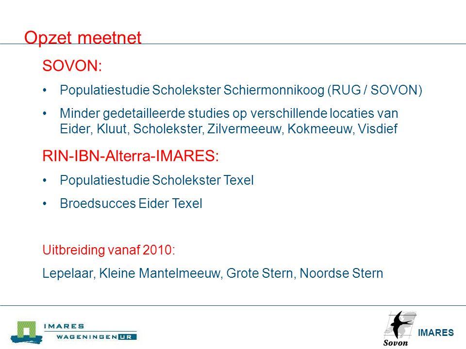 Opzet meetnet SOVON: RIN-IBN-Alterra-IMARES: