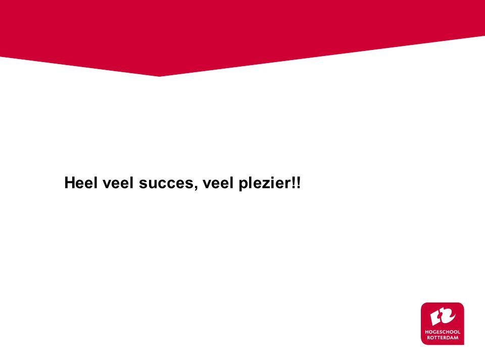 Heel veel succes, veel plezier!!