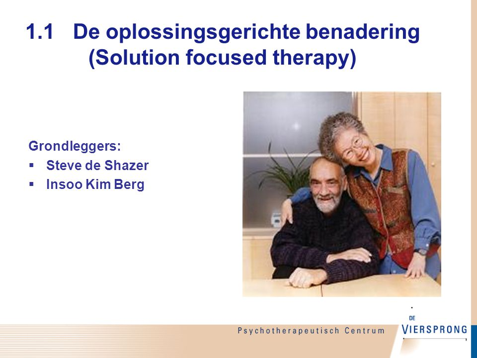 1.1 De oplossingsgerichte benadering (Solution focused therapy)