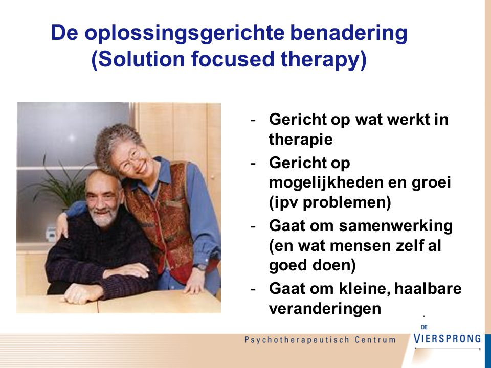 De oplossingsgerichte benadering (Solution focused therapy)