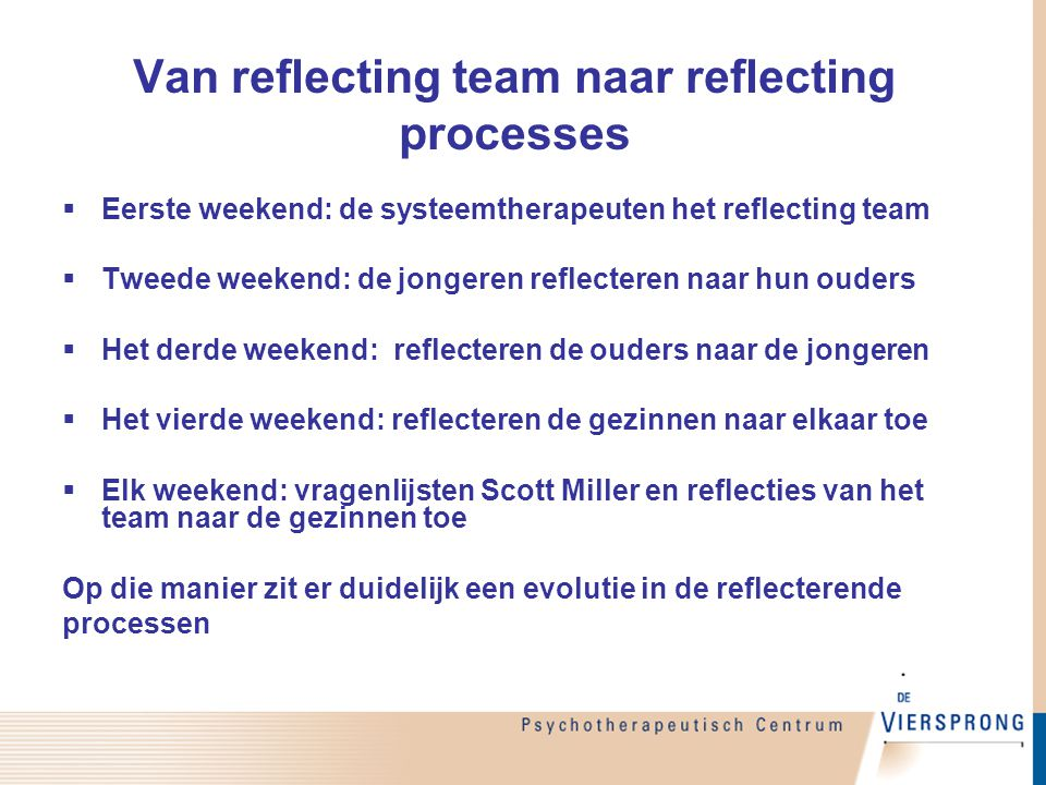Van reflecting team naar reflecting processes