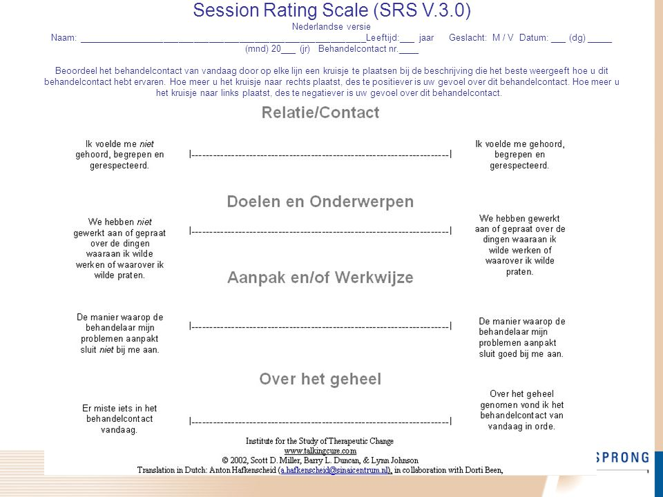 Session Rating Scale (SRS V. 3