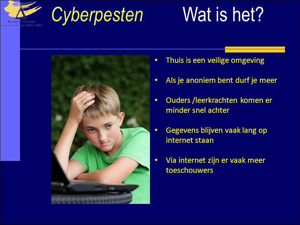 Cyberpesten Wat is het Thuis is een veilige omgeving