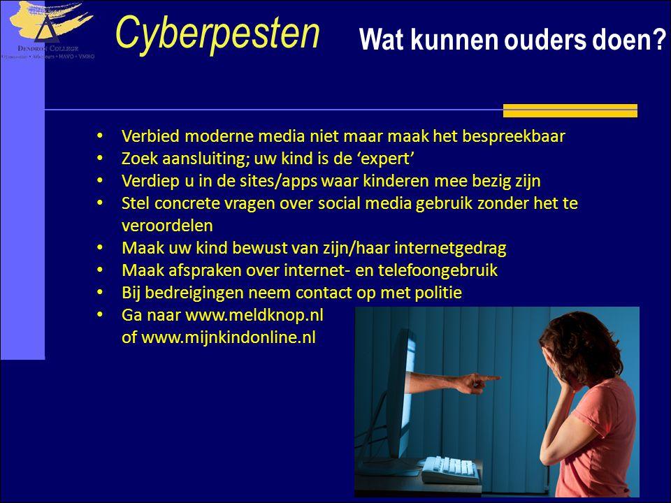Cyberpesten Wat kunnen ouders doen