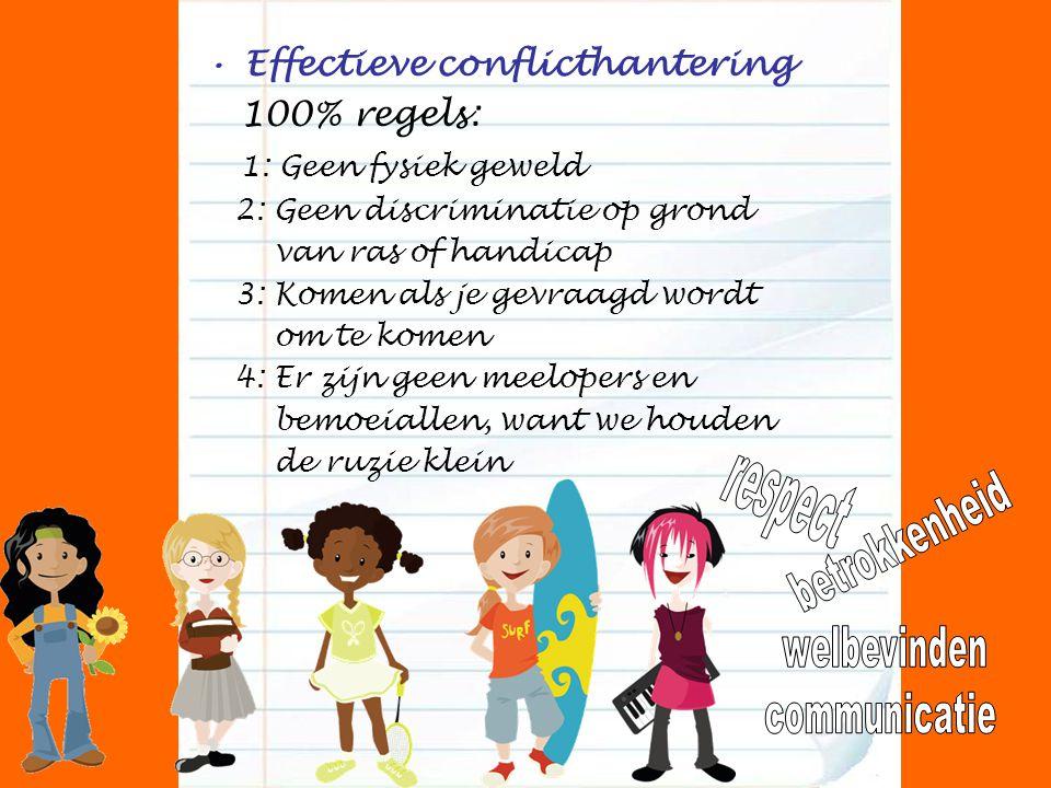 Effectieve conflicthantering 100% regels: 1: Geen fysiek geweld