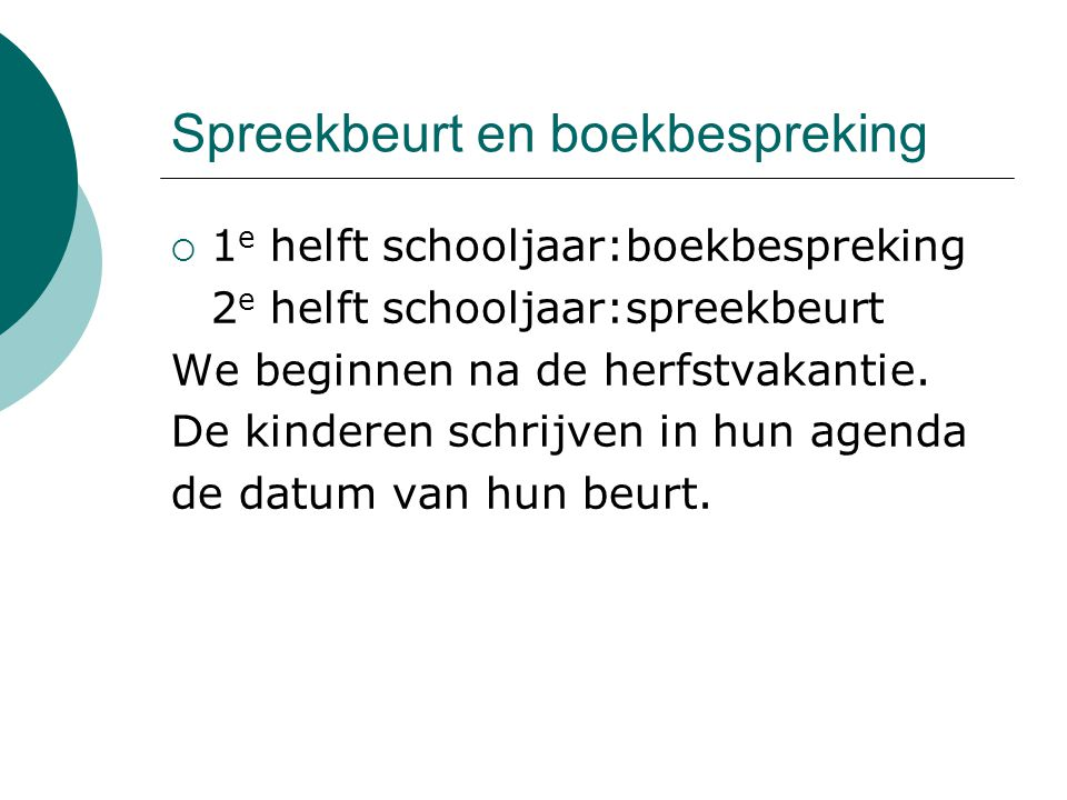Spreekbeurt en boekbespreking