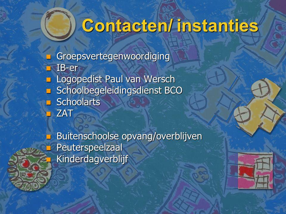 Contacten/ instanties