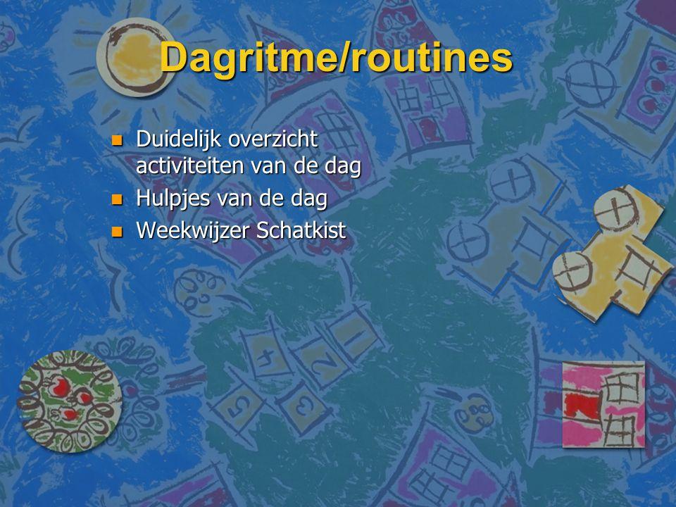 Dagritme/routines Duidelijk overzicht activiteiten van de dag