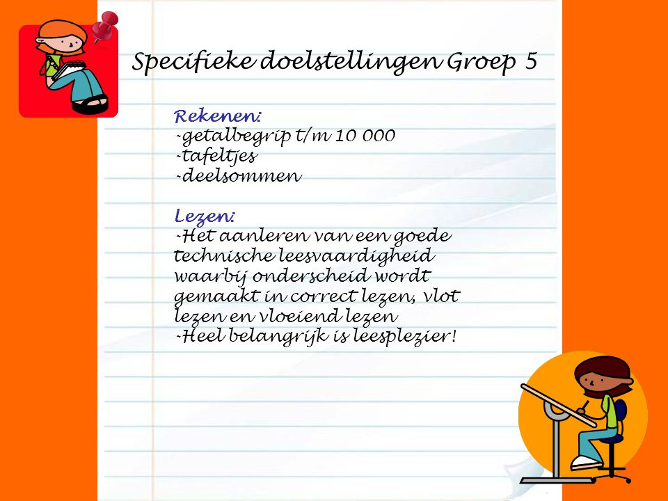 Specifieke doelstellingen Groep 5