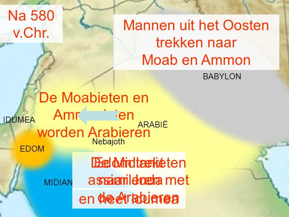 Mannen uit het Oosten trekken naar Moab en Ammon