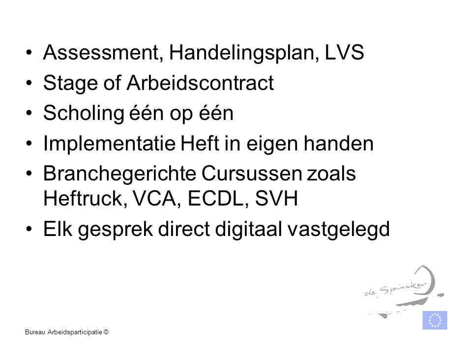 Assessment, Handelingsplan, LVS Stage of Arbeidscontract