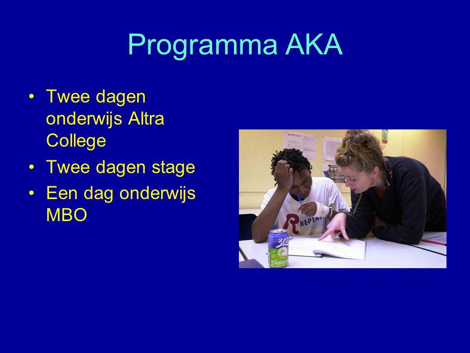 Programma AKA Twee dagen onderwijs Altra College Twee dagen stage