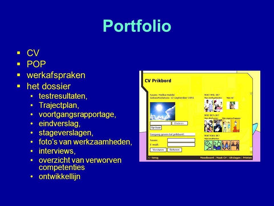 Portfolio CV POP werkafspraken het dossier testresultaten,