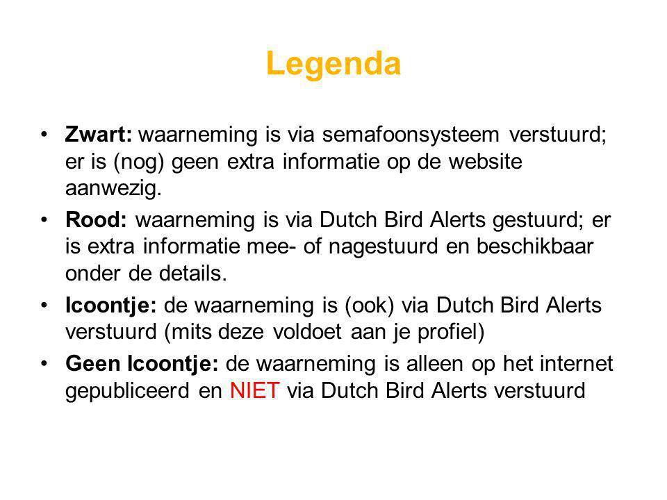 Legenda Zwart: waarneming is via semafoonsysteem verstuurd; er is (nog) geen extra informatie op de website aanwezig.