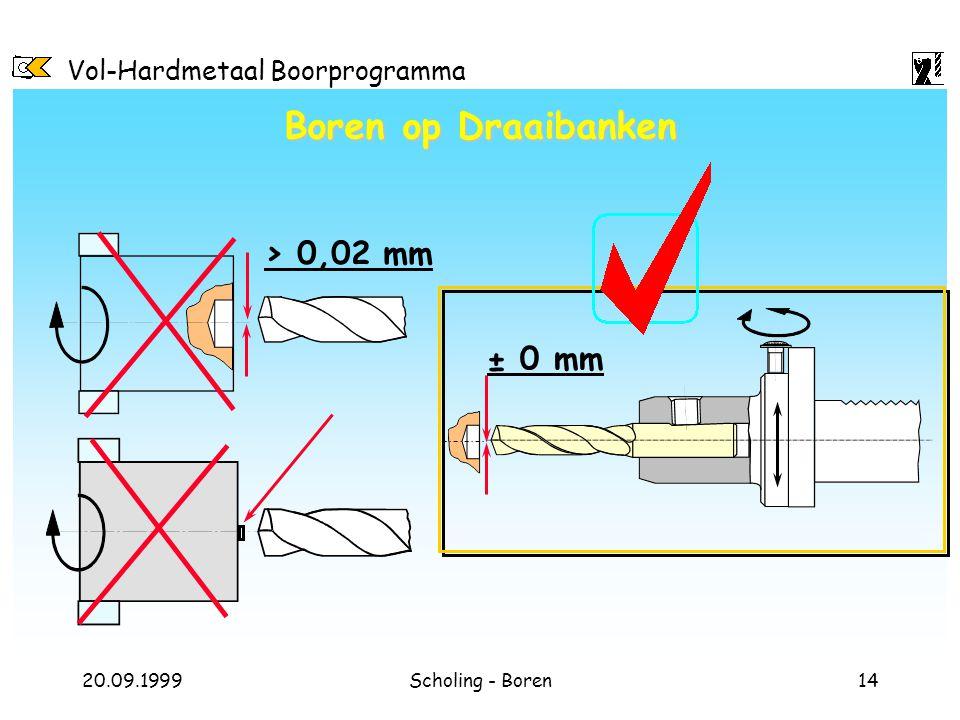 Boren op Draaibanken > 0,02 mm ± 0 mm
