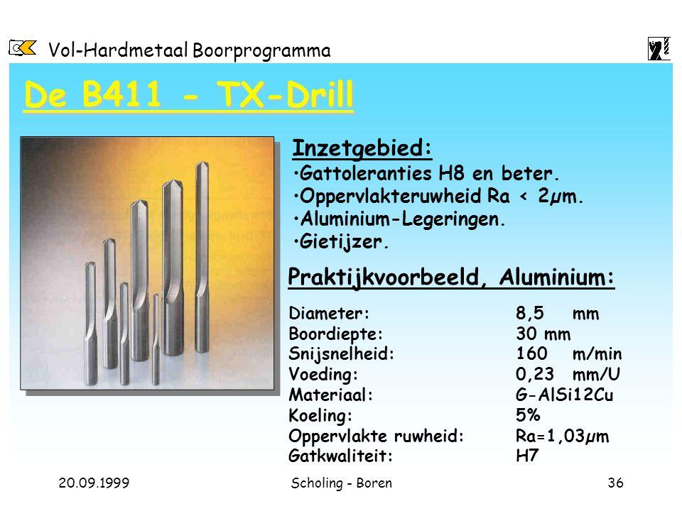 De B411 - TX-Drill Inzetgebied: Praktijkvoorbeeld, Aluminium: