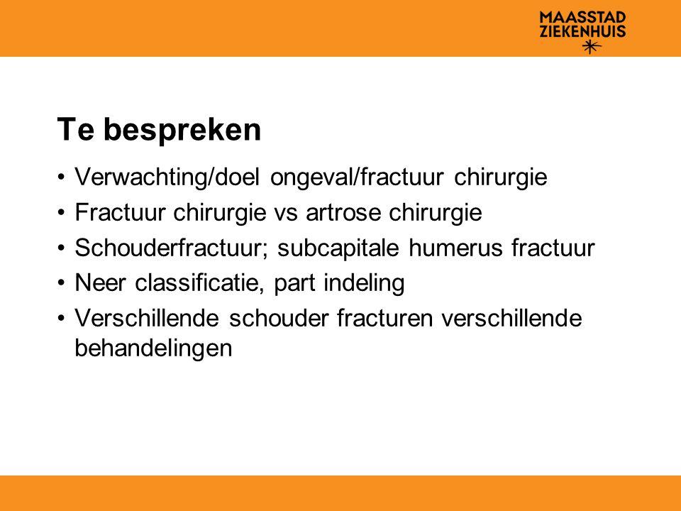 Te bespreken Verwachting/doel ongeval/fractuur chirurgie