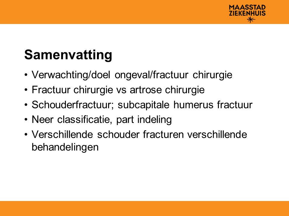 Samenvatting Verwachting/doel ongeval/fractuur chirurgie