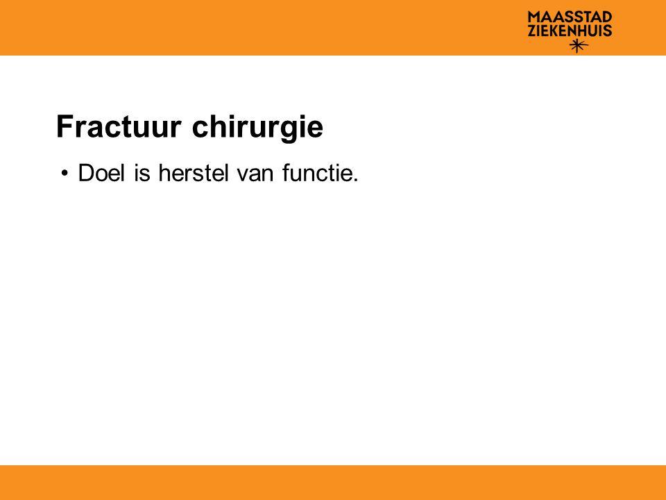 Fractuur chirurgie Doel is herstel van functie.