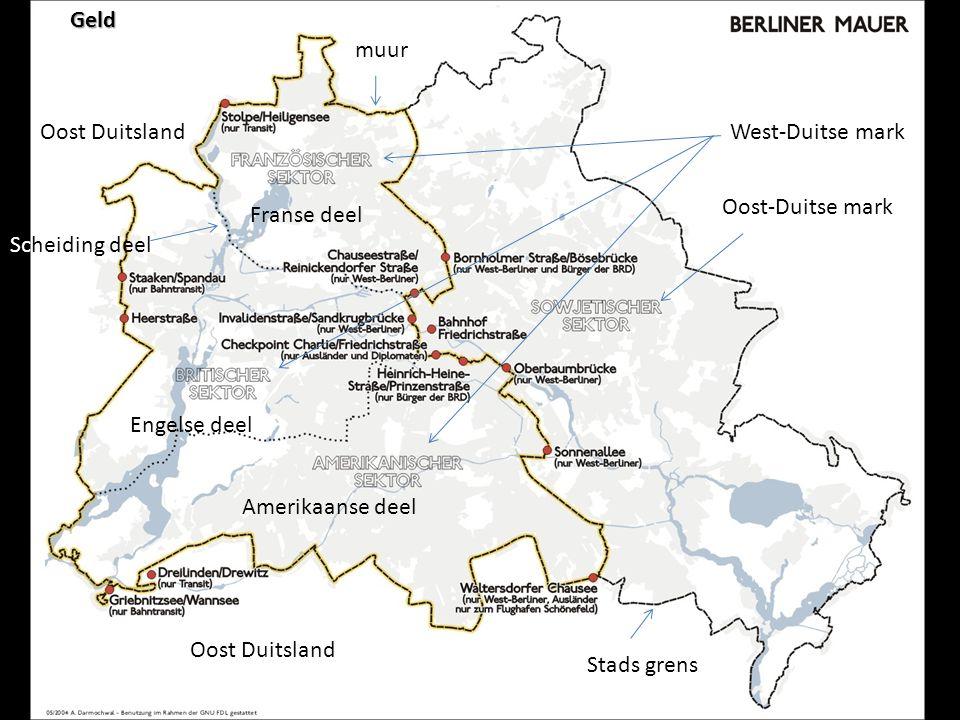 Geld muur. Oost Duitsland. West-Duitse mark. Oost-Duitse mark. Franse deel. Scheiding deel. Engelse deel.