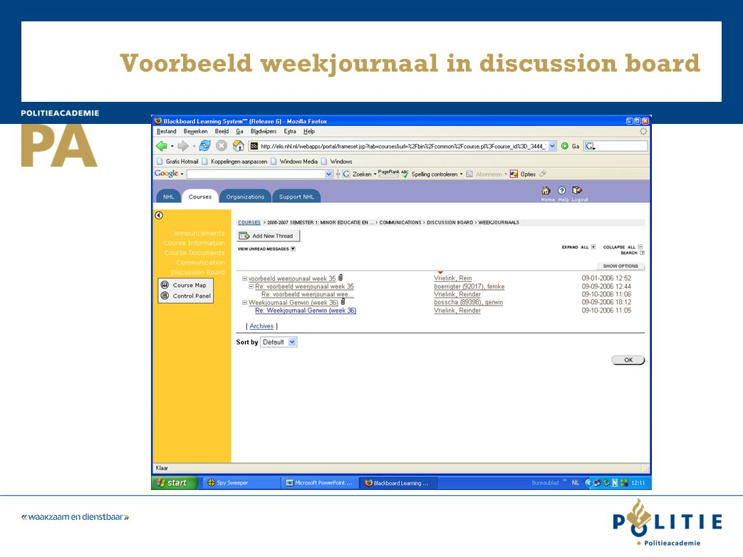 Voorbeeld weekjournaal in discussion board