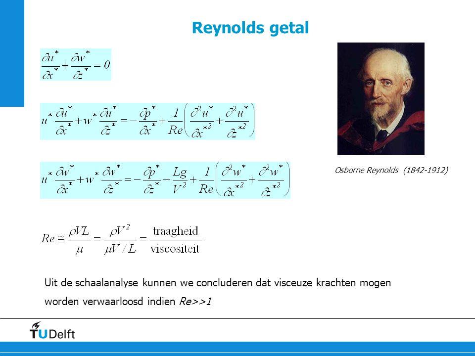 Reynolds getal Osborne Reynolds (1842-1912) Uit de schaalanalyse kunnen we concluderen dat visceuze krachten mogen worden verwaarloosd indien Re>>1.