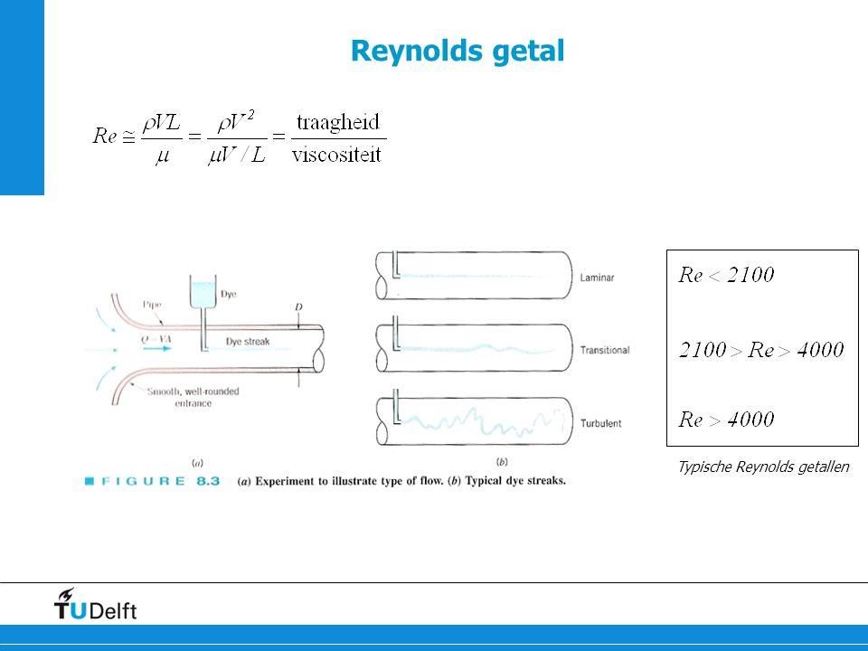 Reynolds getal Typische Reynolds getallen