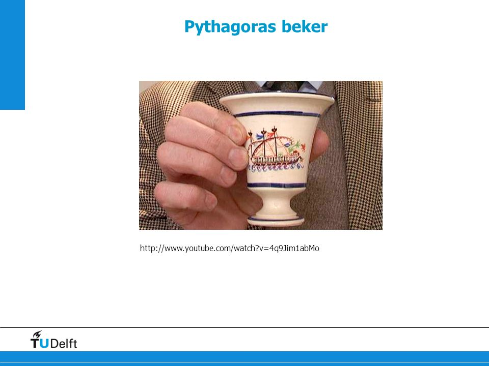 Pythagoras beker http://www.youtube.com/watch v=4q9Jim1abMo