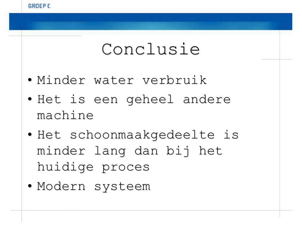 Conclusie Minder water verbruik Het is een geheel andere machine