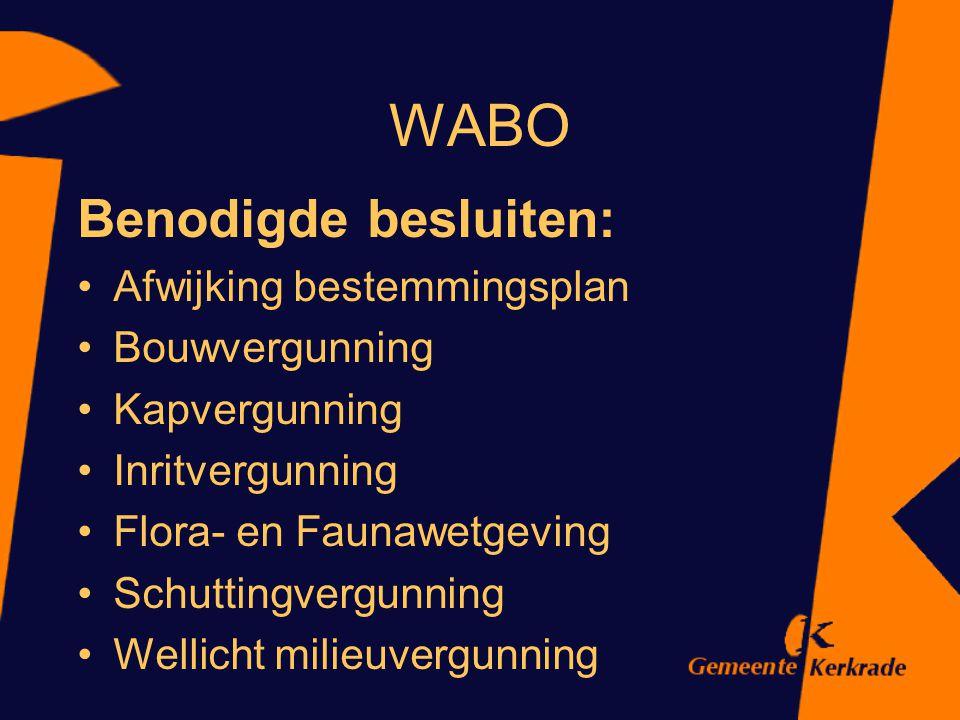 WABO Benodigde besluiten: Afwijking bestemmingsplan Bouwvergunning