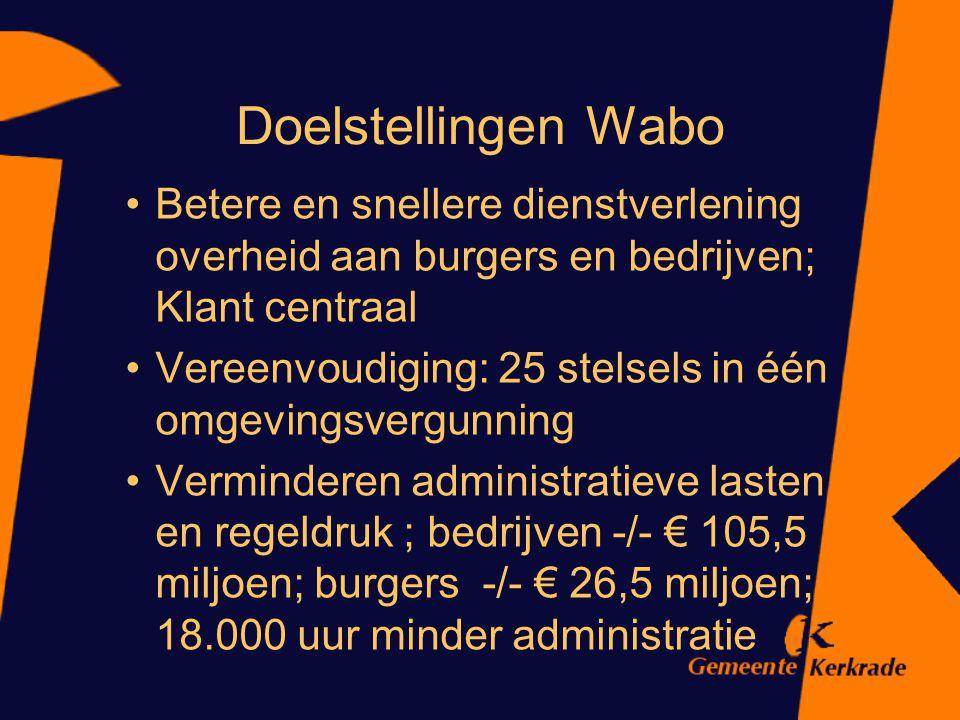 Doelstellingen Wabo Betere en snellere dienstverlening overheid aan burgers en bedrijven; Klant centraal.