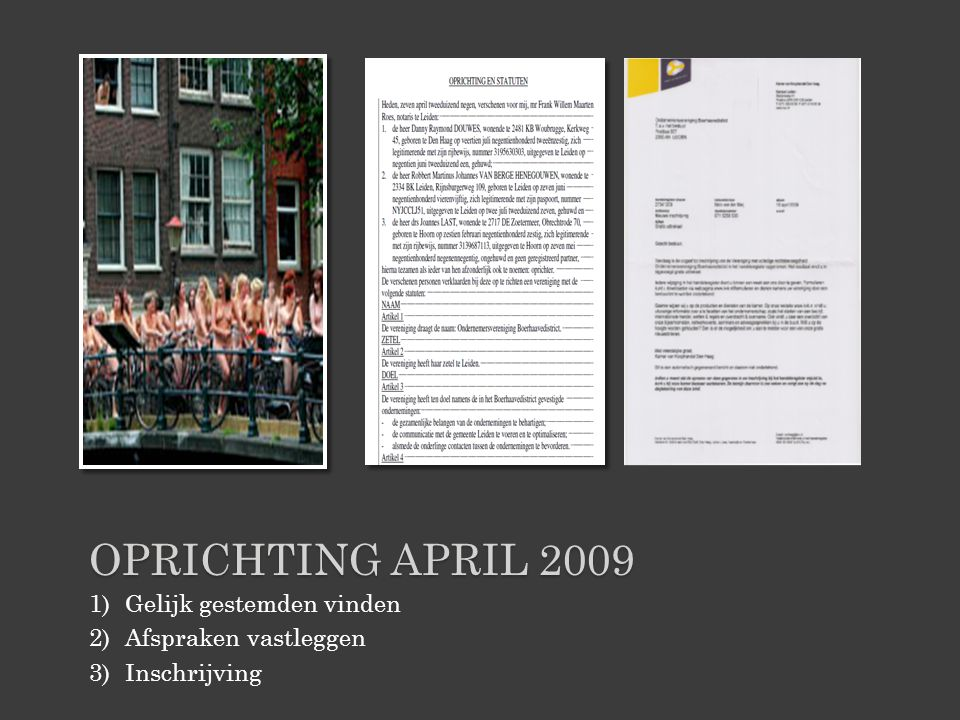 Oprichting april 2009 Gelijk gestemden vinden Afspraken vastleggen