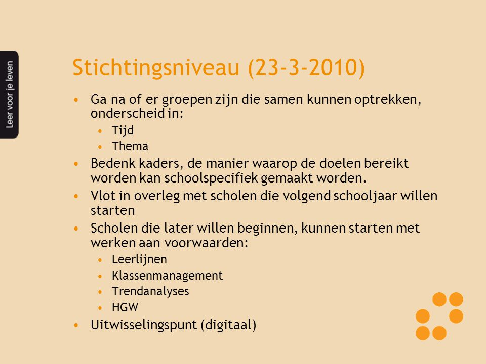 Stichtingsniveau (23-3-2010)
