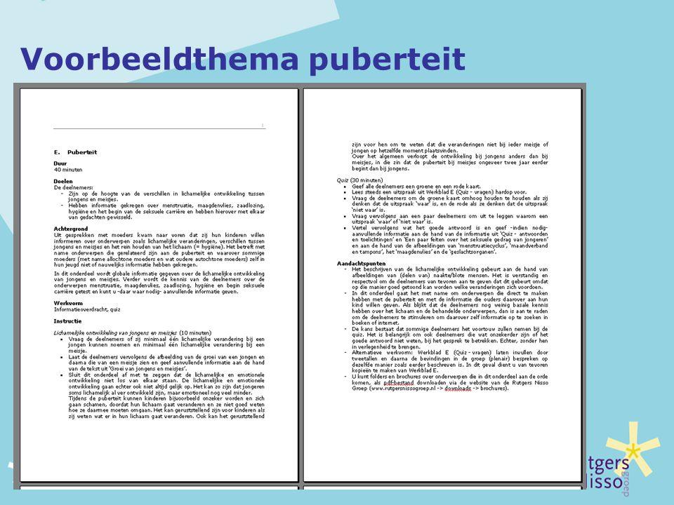 Voorbeeldthema puberteit