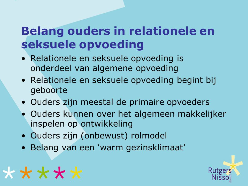 Belang ouders in relationele en seksuele opvoeding