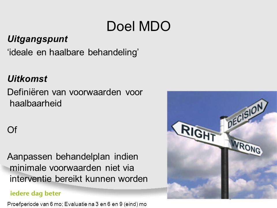 Doel MDO Uitgangspunt 'ideale en haalbare behandeling' Uitkomst